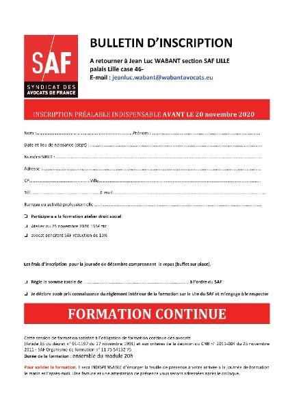 ATELIER DE JURISPRUDENCE SOCIALE LE 25 NOVEMBRE DE 17H30 A 20H 30